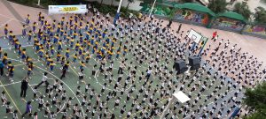 Hong Kong- School children participating in Straighten Up and Move on World Spine Day (2013)
